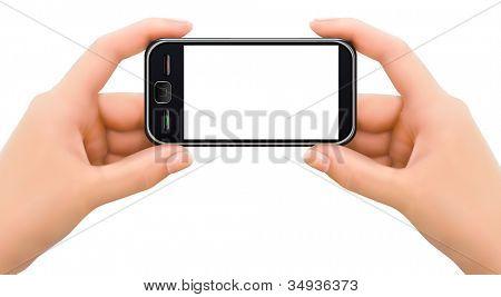 Dos manos sosteniendo el teléfono móvil inteligente con pantalla en blanco. Ilustración del vector.