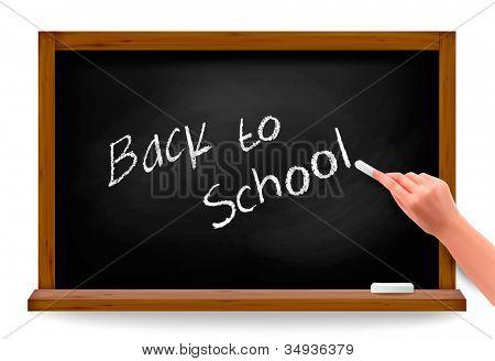 Voltar para a escola. Mão escrevendo em um quadro negro. Vector