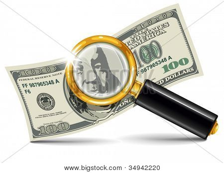 Hundred dollar bill with a magnifying glass on a white background. Conceptual vector illustration.