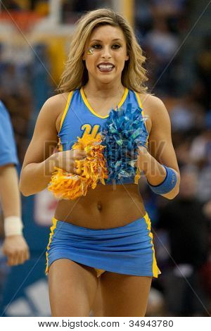 LOS ANGELES - FEB 26: UCLA cheerleader during the NCAA basketball game between the Arizona Wildcats and the UCLA Bruins on Feb 26, 2011 at Pauley Pavilion.