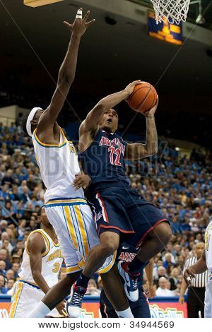 LOS ANGELES - FEB 26: Arizona Wildcats guard Lamont Jones #12 during the NCAA basketball game between the Arizona Wildcats and the UCLA Bruins on Feb 26, 2011 at Pauley Pavilion.