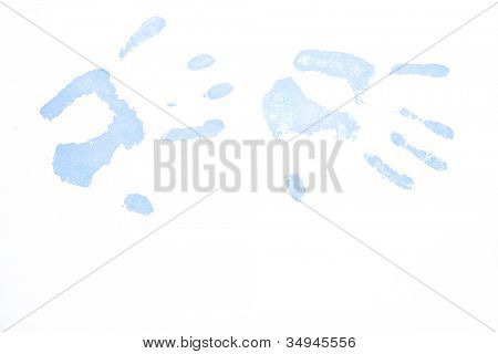 Two blue hand-prints against a white background