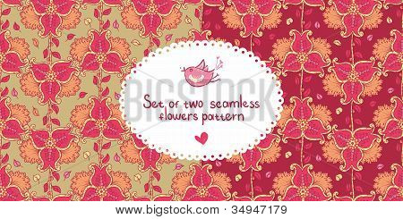 Set Of Two Colorful Seamless Pattern With Pink Flowers