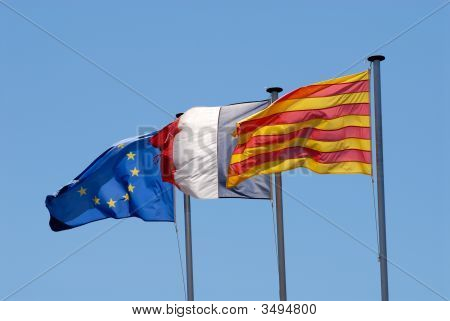 Flags Of Roussillon, France And Eu