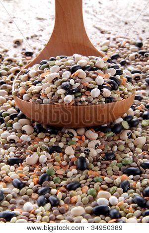 mix vegetables whit lettuce end borlotti beans