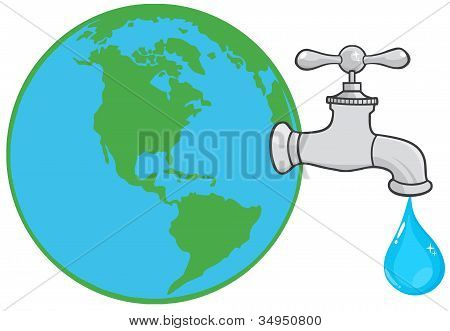 Earth Globe With Water Faucet