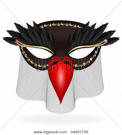 black half-mask of abstract bird