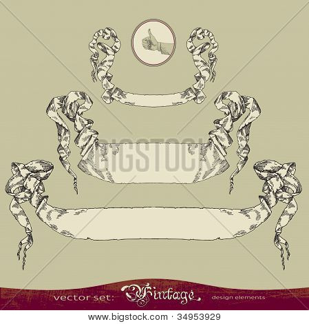 Old banner vector set for decoration and design