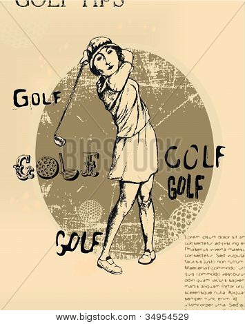 Old newspaper with an illustration of golfing young woman