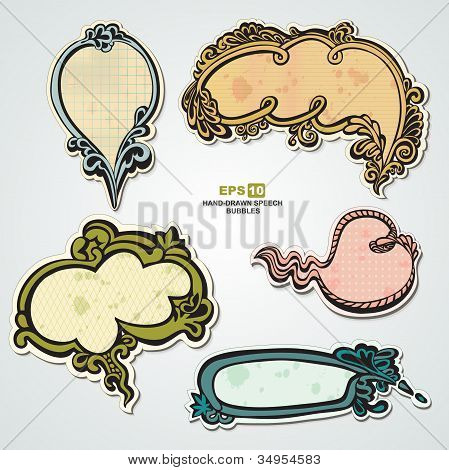 Set of vintage, speech bubbles and stickers with floral elements for decoration and design
