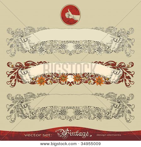Three vector variants of old, vintage, ornate banner for decoration and design