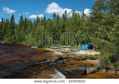 Kayaking In Polar Karelia,Russia ,camping On The Shore Of Engozero Lake