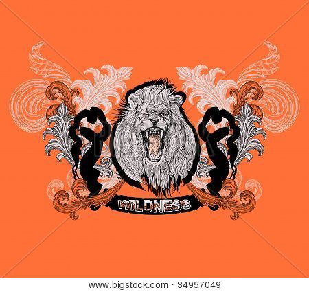 Abstract background with King Lion, vector t-shirt design