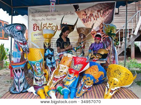 LOEI PROVINCE,THAILAND-J ULY 23:Unidentified man and son paint on ghost mask