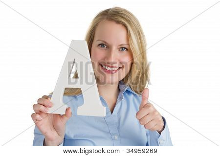 Happy Woman Giving Thumbs Up