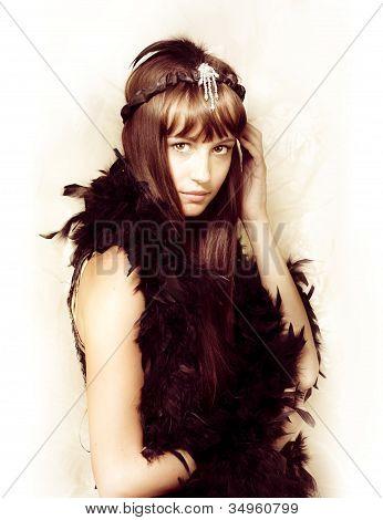 Retro Showgirl In Feather Boa