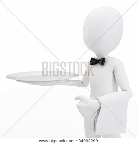 3D Man Waiter With Empty Tray