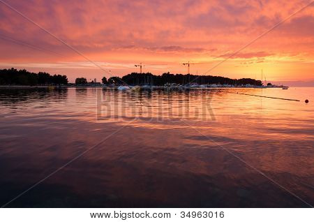 Sunset At Ski Lift Porec, Wakeboarding Park In Croatia