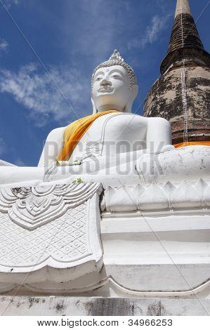 Pagoda And Buddha Status At Wat Yai Chaimongkol, Ayutthaya, Thailand