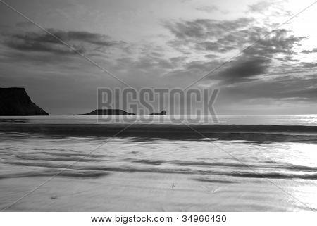 Monochrome Seascape, Rhossili, Gower, Wales.