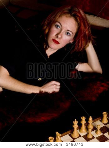 Cute Model Plays Chess