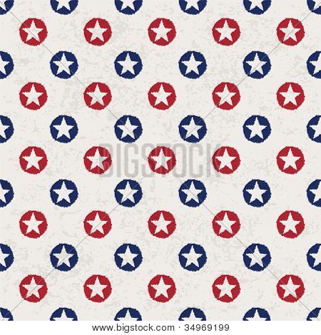 Seamless polka dot pattern with stars in american national flag colour gamut. Raster version.