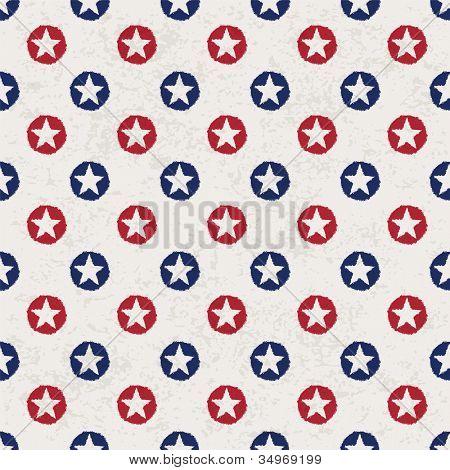 nahtlose Polka Dot Muster mit Sternen im amerikanischen Nationalflagge Farbspektrum. Raster-Version.