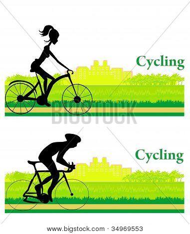 Cycling sport Grunge Poster Template set , vector illustartion