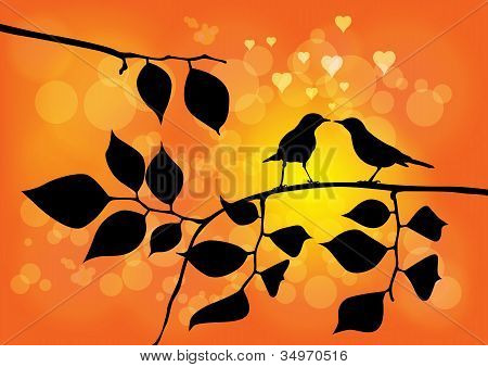 Love Birds On A Tree With Sunset In Background - Vector Illustration