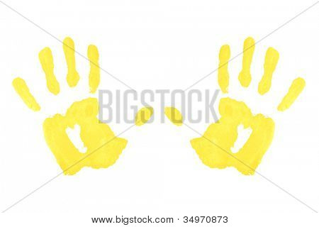 Two yellow symmetric hand-prints against a white background