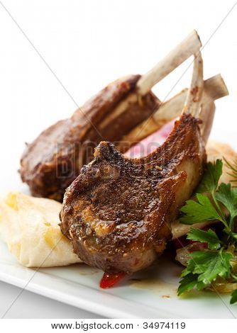 Roasted Lamb Chops with Vegetables, Pickled Onions, Herbs and Lavash