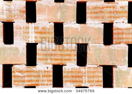 brick partition wall with holes for airflow used for roof slopes