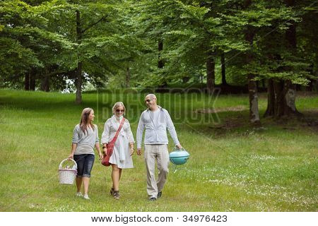 Full length of friends iin casual wear out for a picnic in a forest park
