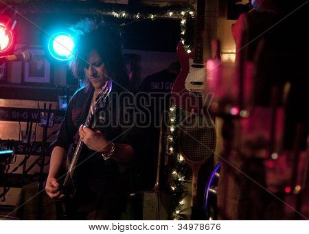 BYRAM, NJ - FEB 28: Guitarist for Billy Idol Steve Stevens performs at Salt Gastropub on February 28, 2012 in Byram, NJ.  He and his wife appear on the E! television reality show 'Married To Rock'.