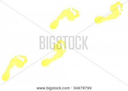 Four yellow footprints against a white background