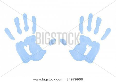 Two blue symmetric handprints against a white background