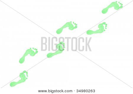 Six green footprints against a white background