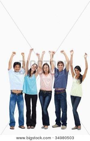Customers raising their arms against white background