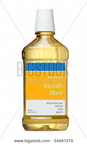 Plastic bottle of mouthwash