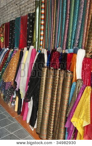 Colourful textiles on an Arab bazaar