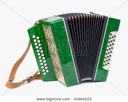 Old Bayan (musical Instrument As Accordion) Isolated On White