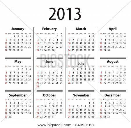 Solid Calendar For 2013