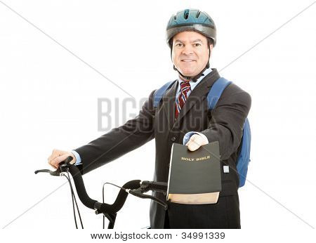 Bicycle salesman or missionary handing you a copy of the bible.  Isolated on white.