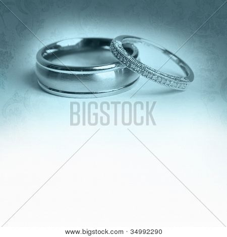 two wedding rings invitation template