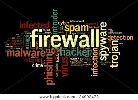 Firewall concept in word tag cloud on black background