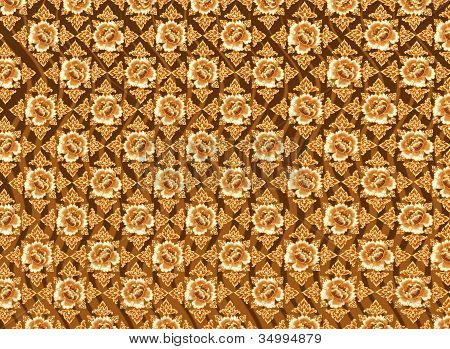 Golden Flower Pattern with Dark Brown Background Textures