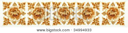 Golden Flower of Seamless Stripe Pattern