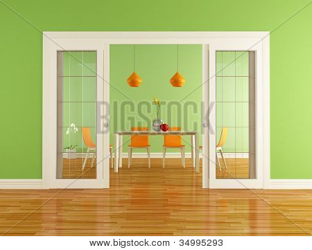 Green And Orange Dining Room