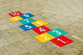 picture of hopscotch  - Colorful hopscotch with numbers to ten - JPG