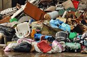 stock photo of trash truck  - Heap of rubbish  - JPG